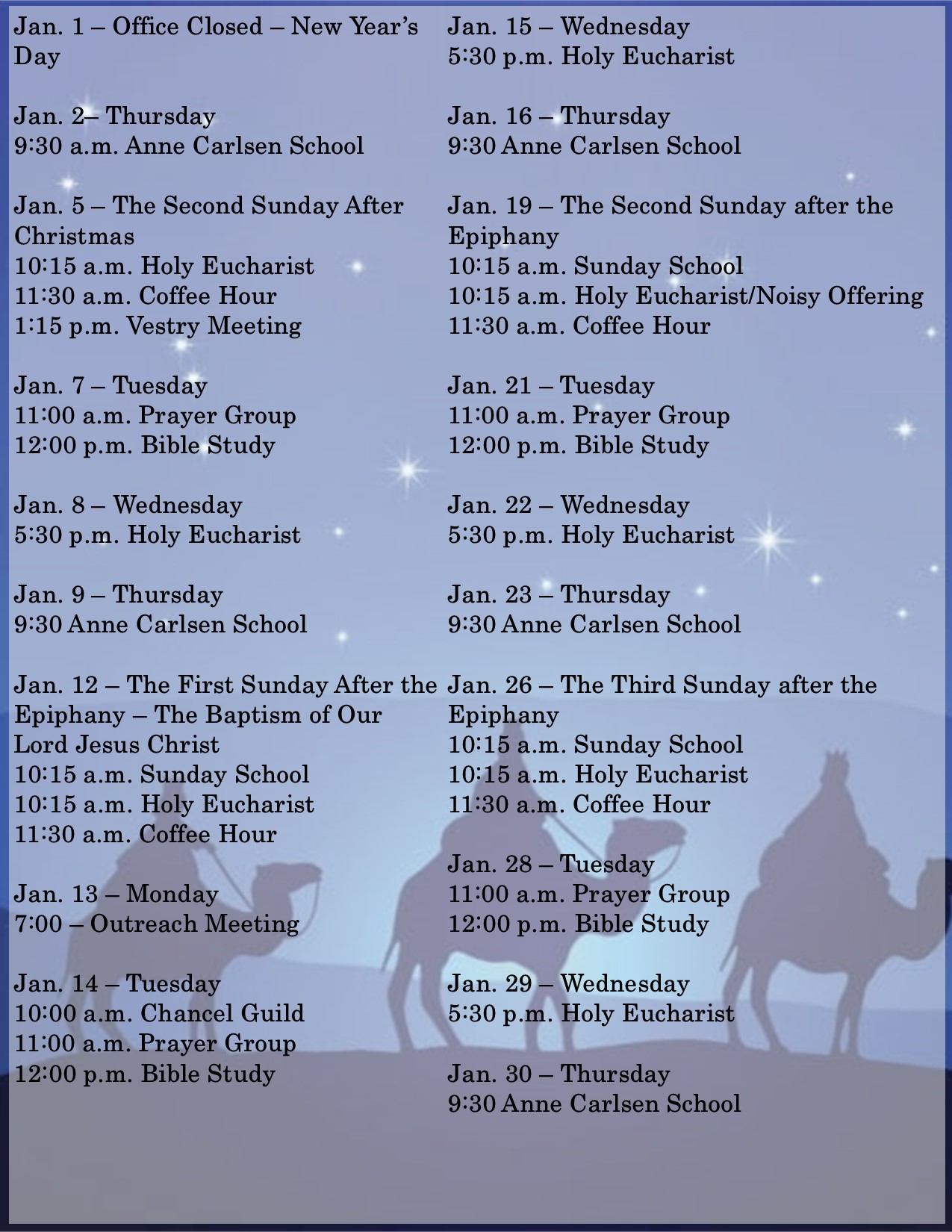 Calendar of Events, December
