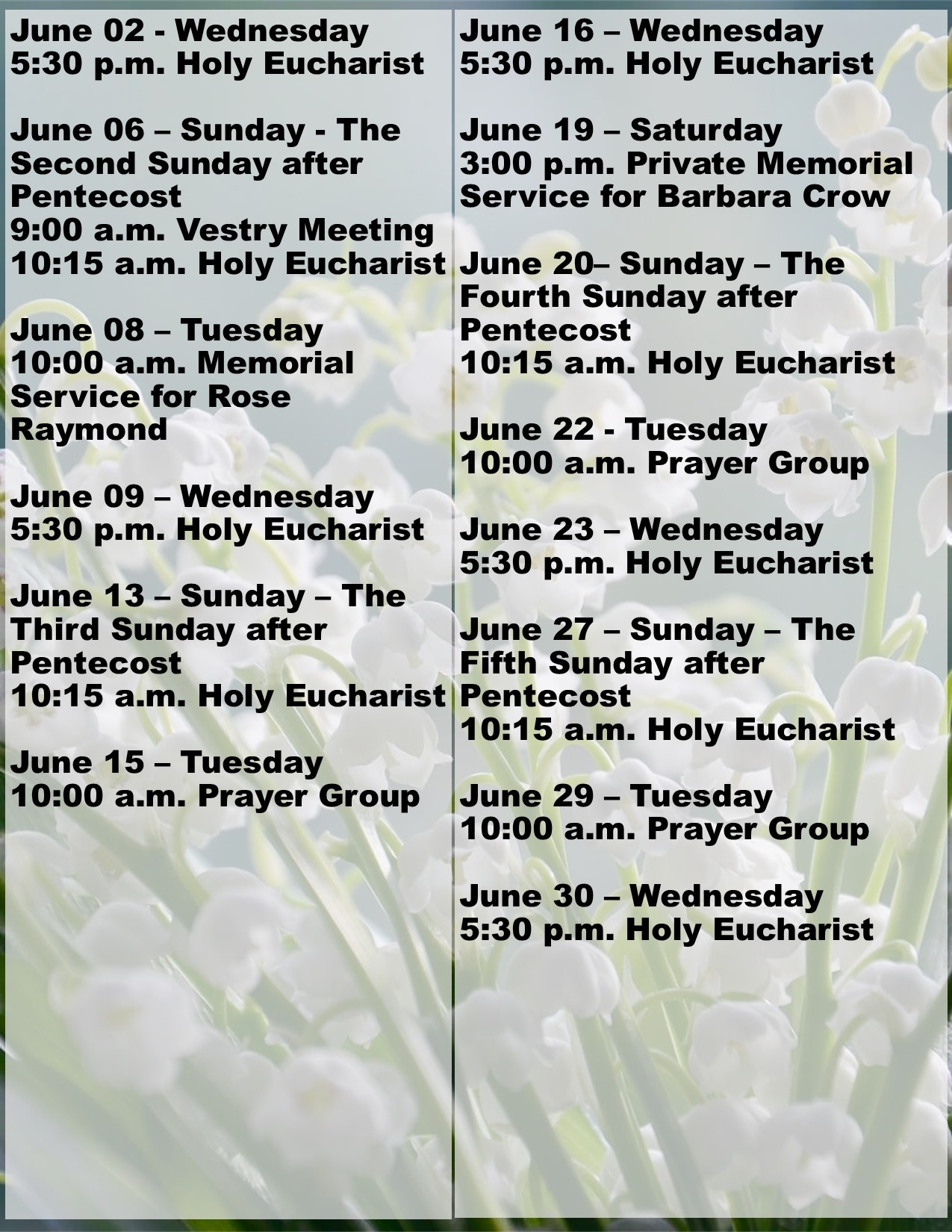 Calendar of Events, June